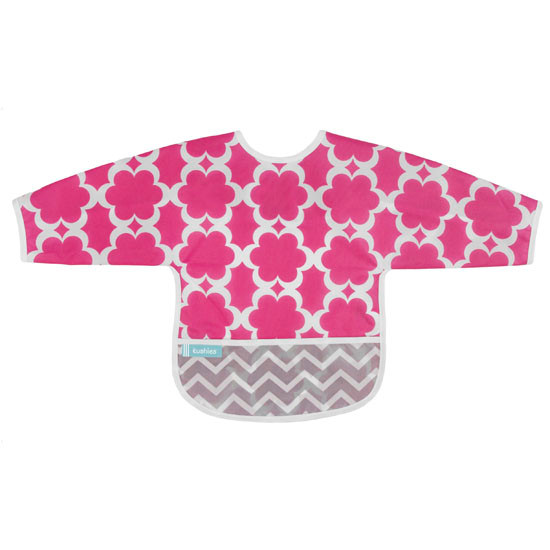 Kushies Cleanbib with Sleeves - Fuchsia Modern Flowers-1
