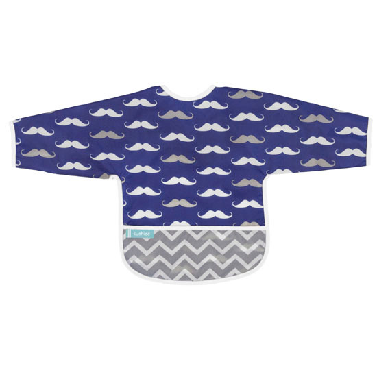 Kushies Cleanbib with Sleeves - Navy Mustache-1