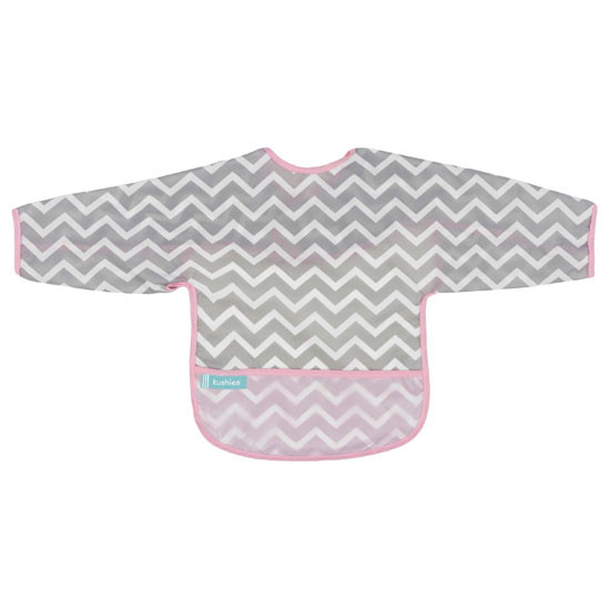 Kushies Cleanbib with Sleeves - Pink Chevron-1