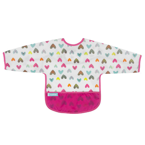 Kushies Cleanbib with Sleeves - White Doodle Hearts-1
