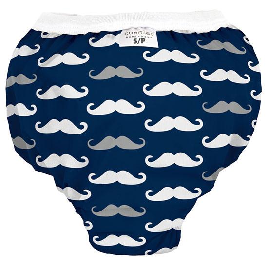 Kushies Waterproof Training Pant - Navy Mustache-1