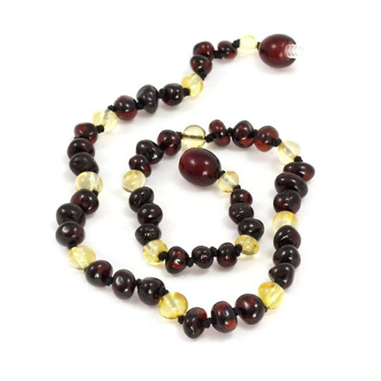 Momma Goose Baby Amber Teething Necklaces - Baroque Cherry & Lemon Product