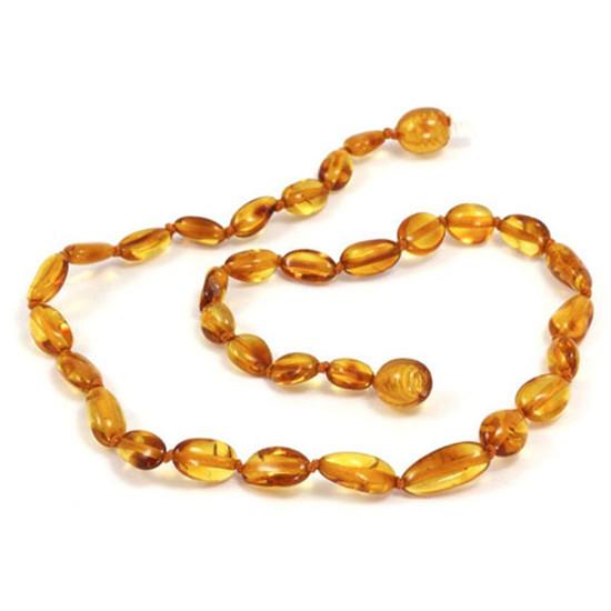 Momma Goose Baby Amber Teething Necklaces - Olive Honey (Medium)-1
