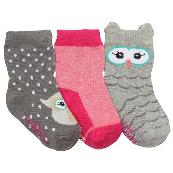 Robeez Owl Love you Baby Socks 3 Pack - Grey-1