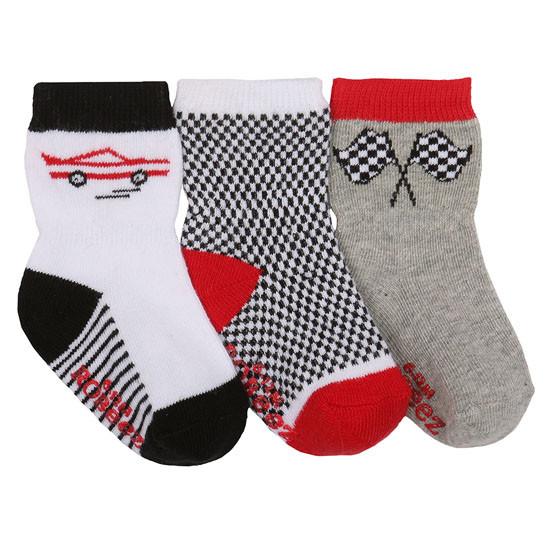 Robeez Speedy Baby Socks 3 Pack - White-1