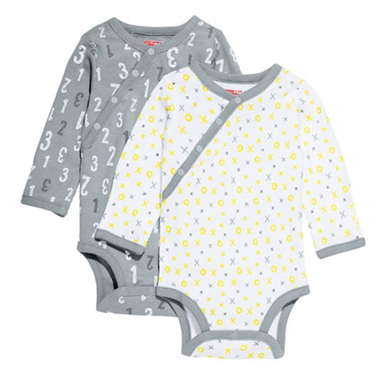 Skip Hop Long Sleeve Body Suit Set - Grey ABC 123-1