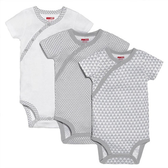 Skip Hop Petite Triangles Side Snap Short Sleeve Bodysuit Set - Grey-1