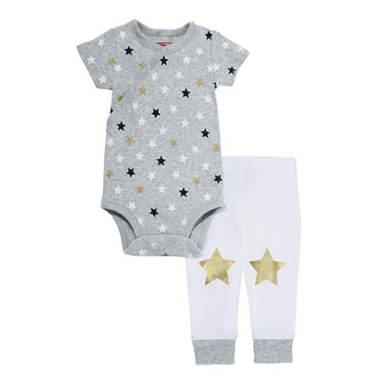 Skip Hop Star Struck Short Sleeve Body Suit & Pants Set - Grey-1