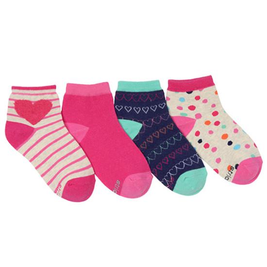 STRIDE RITE Penny Pom Heart Quarter Socks - 4 Pack-1