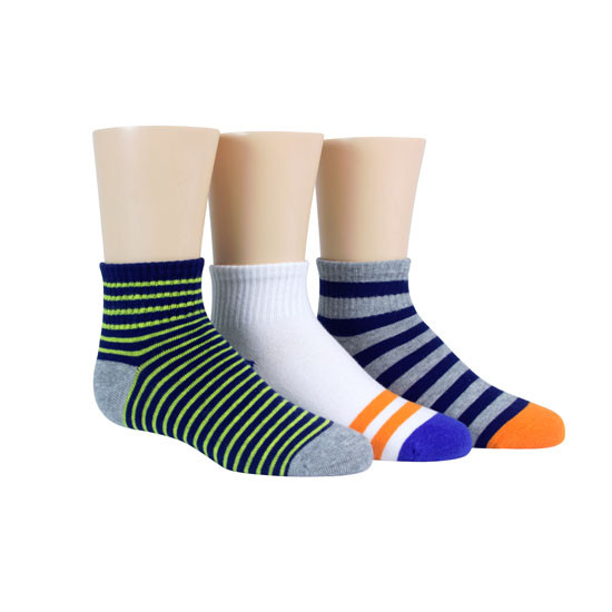 STRIDE RITE Seth Pop Stripe Comfort Seam Quarter Socks - 3 Pack-2