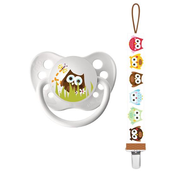 Ulubulu Owl Pacifier & Owl Universal Pacifier Clip Combo Product