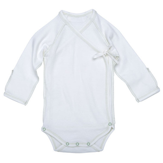 Under The Nile Inside-Out Babybody - Off White w. Sage Trim-1