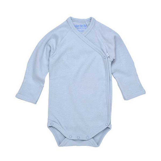 Under The Nile Long Sleeve Side Snap Babybody - Ice Blue Product