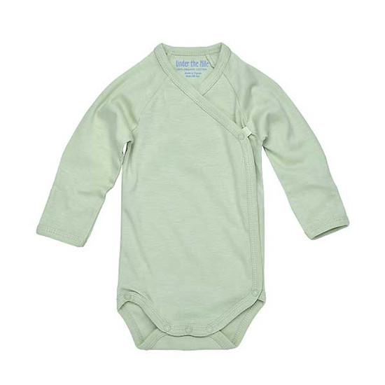 Under The Nile Long Sleeve Side Snap Babybody - Sage-1