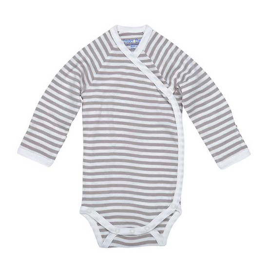 Under The Nile Long Sleeve Side Snap Babybody - Tan Stripe Product