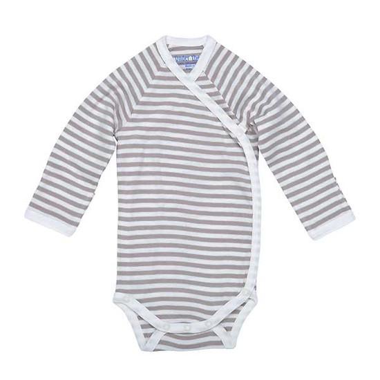 Under The Nile Long Sleeve Side Snap Babybody - Tan Stripe-1