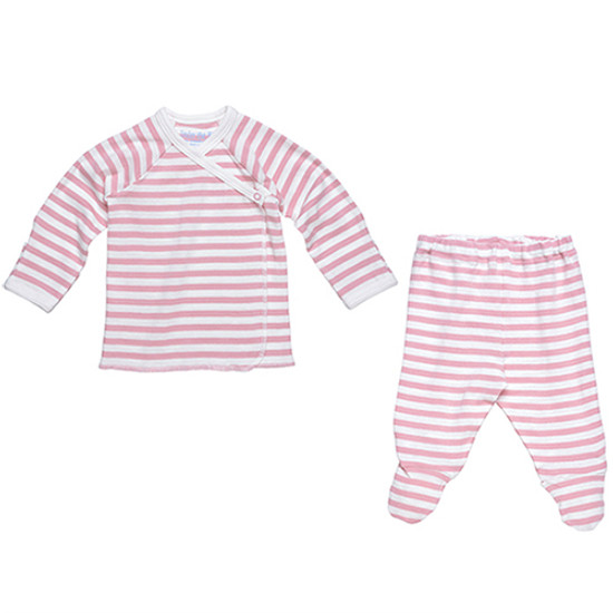 Under The Nile Side Snap Layette Set - Blush/Off White Stripe Product