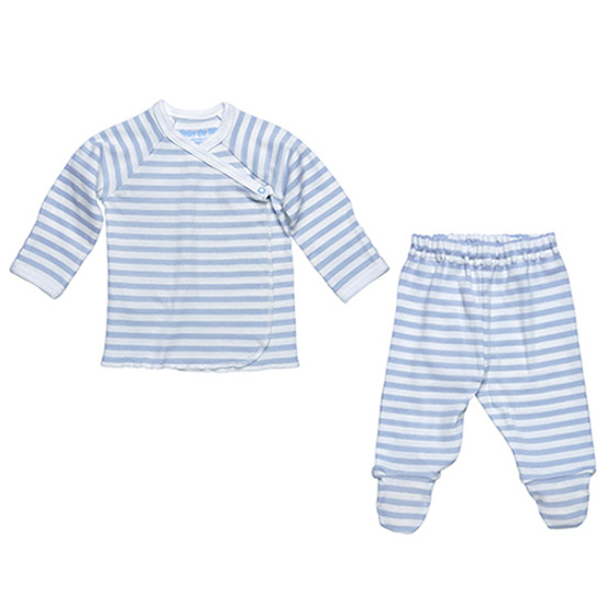 Under The Nile Side Snap Layette Set - Ice Blue/Off White Stripe-1