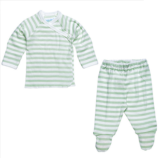 Under The Nile Side Snap Layette Set - Sage/Off White Stripe Product