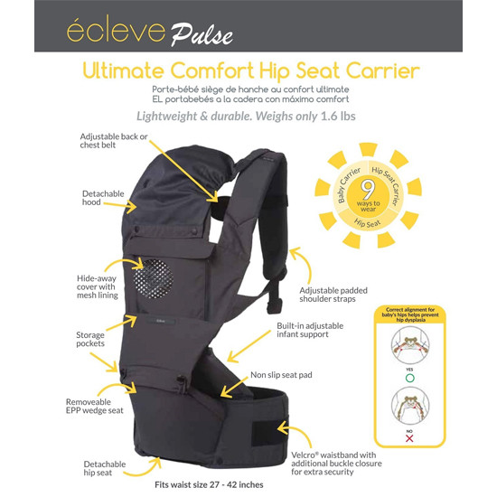 Innobaby Ecleve Pulse Ultimate Comfort Hip Seat Carrier - Midnight Blue-2