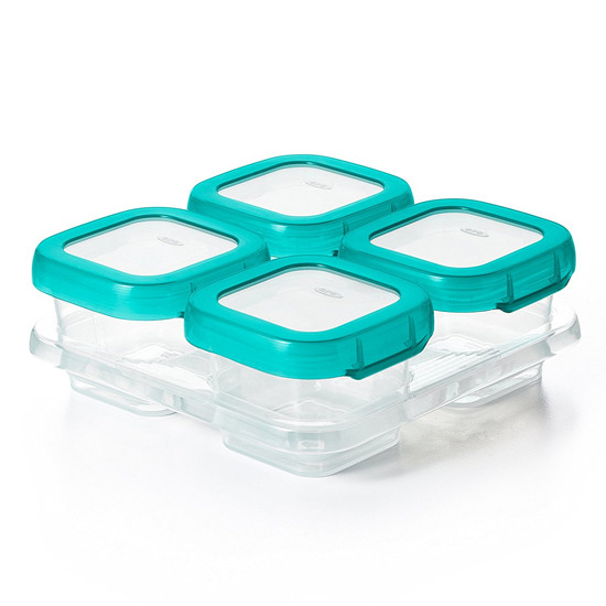 OXO TOT Plastic Baby Blocks Freezer Storage Containers (4 OZ) -