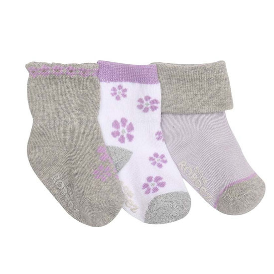Robeez Purple Flowers Baby Socks - 3 Pack