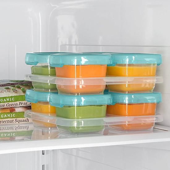 OXO Tot Plastic Baby Blocks Freezer Storage Containers (4 OZ) - Aqua-4