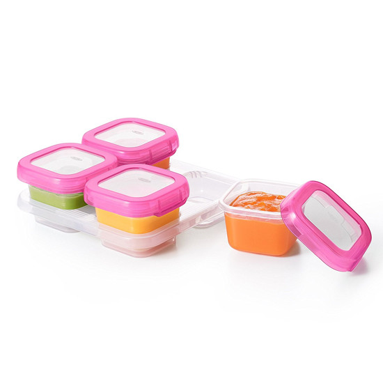 OXO Tot Plastic Baby Blocks Freezer Storage Containers (4 OZ) - Pink-2