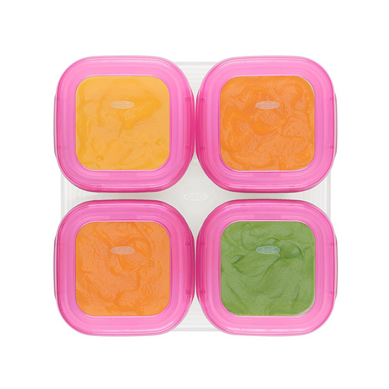 OXO Tot Plastic Baby Blocks Freezer Storage Containers (4 OZ) - Pink-3