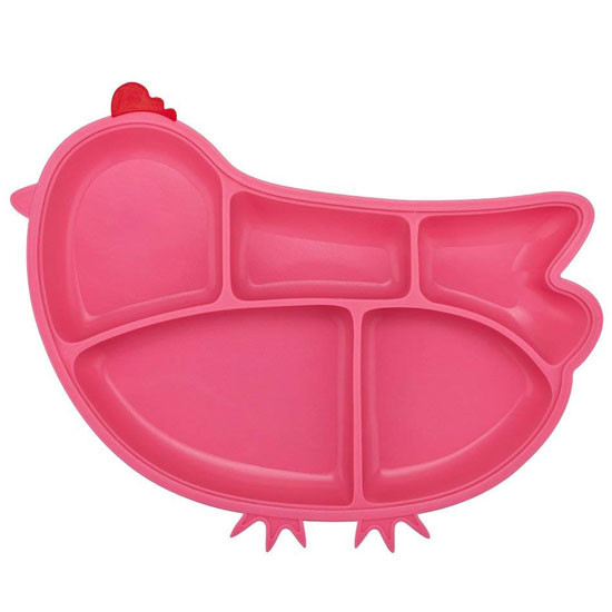 Innobaby Din Din SMART Silicone Suction Divided Plate - Chicken/Pink-1