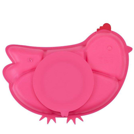 Innobaby Din Din SMART Silicone Suction Divided Plate - Chicken/Pink-2