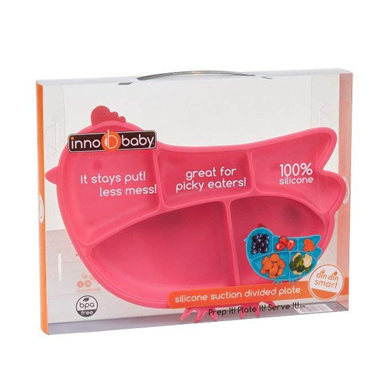Innobaby Din Din SMART Silicone Suction Divided Plate - Chicken/Pink-3
