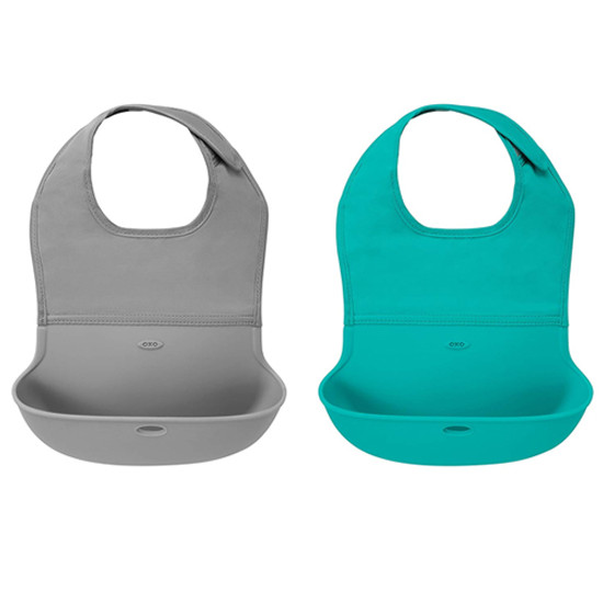 OXO Roll Up Bib - 2 Pack - Grey/Teal-1
