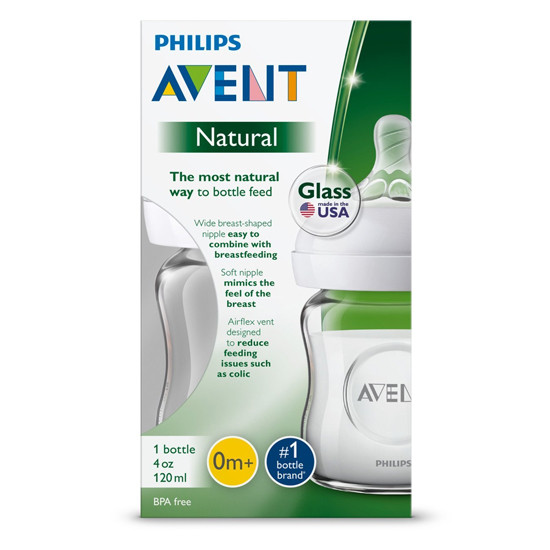 Philips Avent Natural Glass Baby Bottle - 4 oz