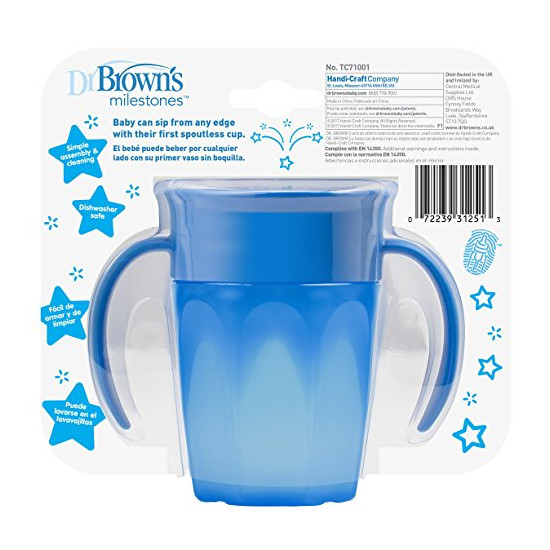 Dr. Brown Cheers 360 Spoutless Transition Cup - Blue