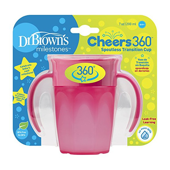 Dr. Brown Cheers 360 Spoutless Transition Cup - Pink