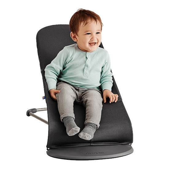 Baby Bjorn baby and toddler ergonomic bouncer with natural rocking in black lifestyle