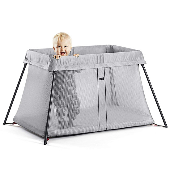 Baby Bjorn Travel Crib Light in Silver Lifestyle with Baby inside