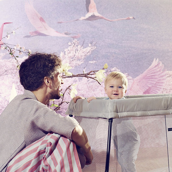 Baby Bjorn Travel Crib Light in Silver Steps Lifestyle with Dad