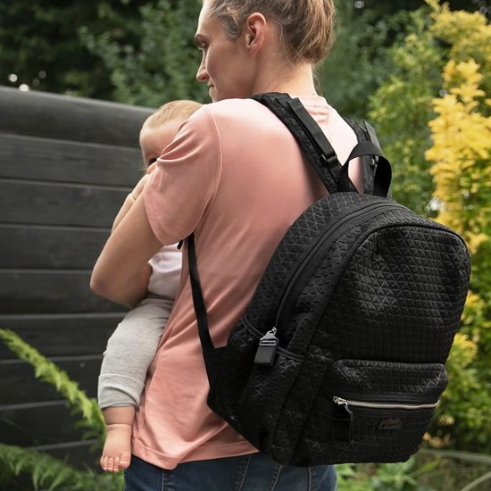 Babymel Luna Ultra Lite Scuba Diaper Backpack - Black Lifestyle
