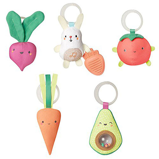 Skip Hop Farmstand Grow & Play Activity Gym comes with Five hanging toys include: Plush tomato, avocado rattle, beet squeaker, carrot with tactile ribbons, musical bunny with carrot teether