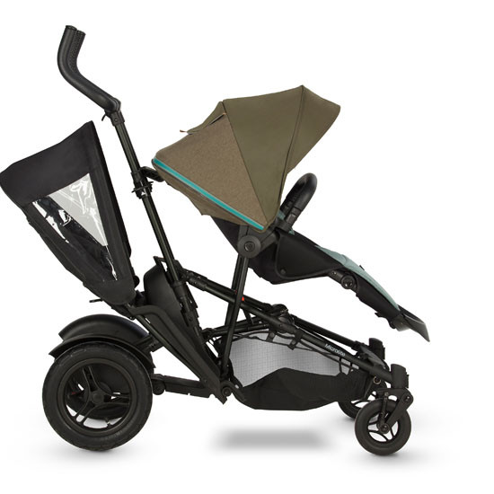 Micralite TwoFold Tandem Second Seat - Black with Evergreen Stroller