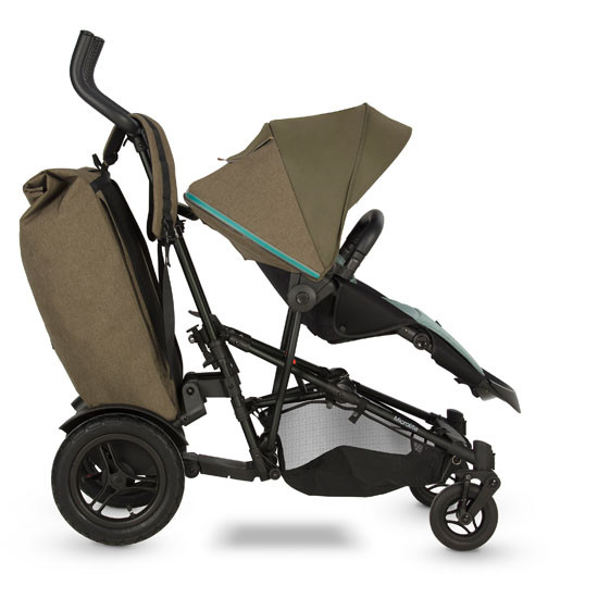 Micralite TwoFold 40lb Shopping Bag - Evergreen with stroller