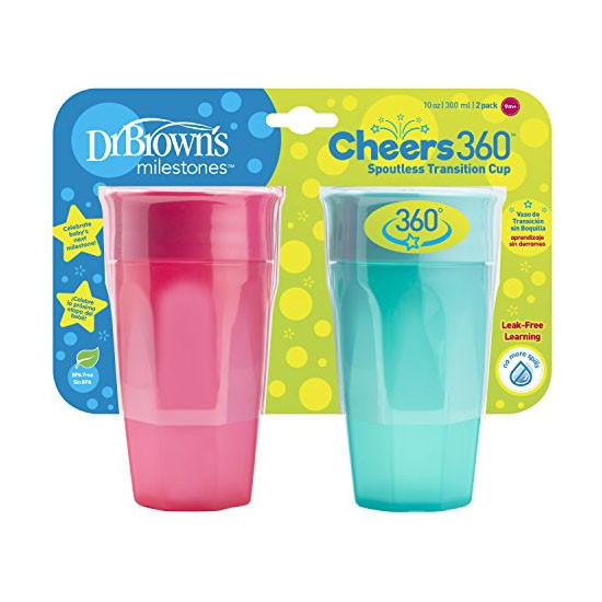 r Brown's Cheers 360 Cup - 10 oz - 2 Pack Pink/Turquoise_thumb2