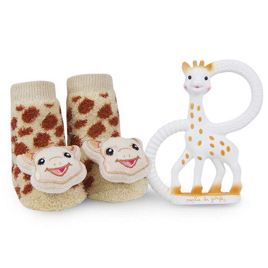 Sophie la Girafe Teething Ring and Waddle Rattle Socks Baby Gift Set