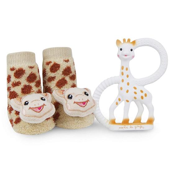 Sophie la Girafe Teething Ring and Waddle Rattle Socks Baby Gift Set