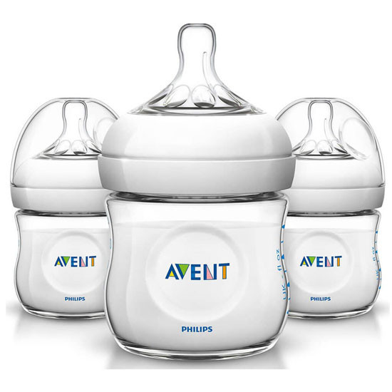 Philips Avent Natural Baby Bottle - 4oz (3 Pack) Clear