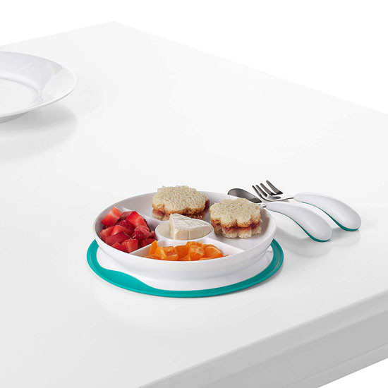 OXO Tot Stick & Stay Divided Plate - Teal_thumb3