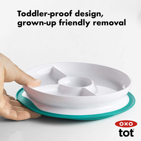 OXO Tot Stick & Stay Divided Plate - Teal_thumb7