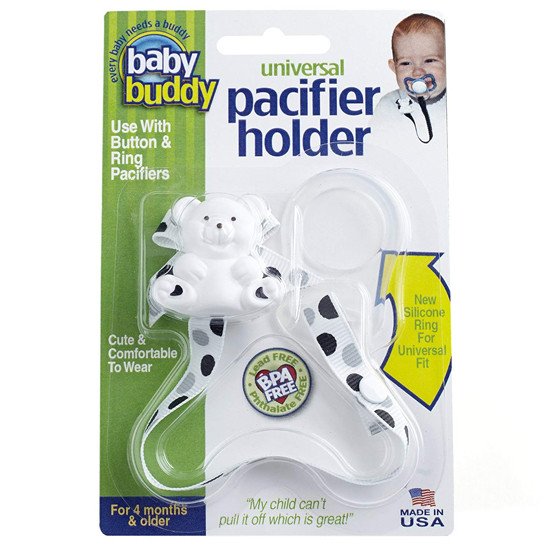 Baby Buddy Universal Pacifier Holder - Dots - Black/Grey Product